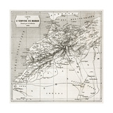 Morocco Old Map. Created By Erhard And Bonaparte, Published On Le Tour Du Monde, Paris, 1860 Lámina giclée premium por  marzolino
