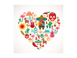 Mexico Love - Heart With Set Ofs Print by  Marish