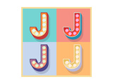 Simple And Clear Flat Lamp Alphabet - Letter J Prints by  dgbomb