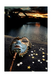 Venetian Mask By The River Bridge With Sunset Print by  passigatti