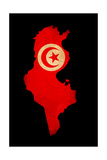 Map Outline Of Tunisia With Flag Grunge Paper Effect Poster by  Veneratio