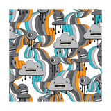 Monsters Modern Seamless Pattern In Retro Style Premium Giclee Print by  incomible