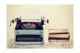 Old Typewriter With Books Retro Colors On The Desk Print by  Artush