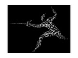 Fencing Pictogram With Related Wordings On Black Background Art by  seiksoon