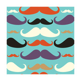 Old Fashioned Mustache Seamless Pattern Poster by  cienpies