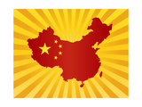 China Flag In Map Silhouette Illustration Art by  jpldesigns
