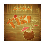 Retro Design Tiki Bar Menu On Wooden Background Posters by  elfivetrov