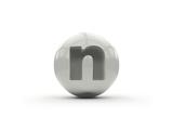 3D Alphabet, Spherical Letter N Isolated On White Background Art by Andriy Zholudyev