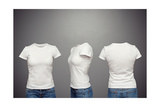Front, Back And Side Views Of Blank Feminine T-Shirt Over Dark Background Prints by  konstantynov
