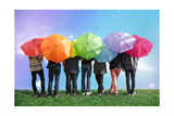 Seven Friends With Rainbow Color Umbrellas On Meadow Collage Art by  Paha_L