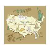 Stylized Map Of America. Things That Different Regions In Usa Are Famous For Poster by Alisa Foytik