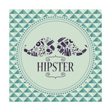 Hipster Card Mustache With Various Clothing And Accessories Prints by  paw23