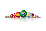Soccer Football Balls Group With Teams Flags Arte por  daboost