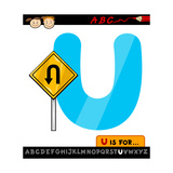 Letter U With U Turn Sign Cartoon Illustration Prints by Igor Zakowski