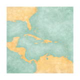 Map Of Caribbean - Blank Map (Vintage Series) Posters by  Tindo
