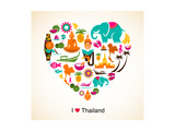 Thailand Love - Heart With Thai Icons And Symbols Giclee-tryk i høj kvalitet af  Marish