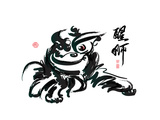 Ink Painting Of Chinese Lion Dance Translation Of Chinese Text: The Consciousness Of Lion Prints by  yienkeat