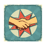 Handshake Poster.Retro Image On Old Paper Texture Prints by  GeraKTV