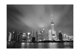 Shanghai Skyline At Night In Black And White Prints by Songquan Deng