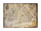 Old Map Of British Islands. Created By Laurence Nowell, Published In England, 1564 Prints by  marzolino