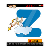 Letter Z With Zeus Cartoon Illustration Prints by Igor Zakowski