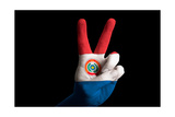 Paraguay National Flag Two Finger Up Gesture For Victory And Winner Symbol Made With Hand Posters by  vepar5