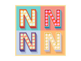 Simple And Clear Flat Lamp Alphabet - Letter N Prints by  dgbomb