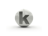 3D Alphabet, Spherical Letter K Isolated On White Background Posters by Andriy Zholudyev