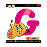 Letter G With Grapefruit Cartoon Illustration Prints by Igor Zakowski