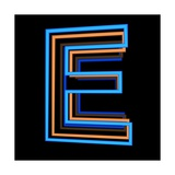 Glowing Letter E Isolated On Black Background Posters by Andriy Zholudyev