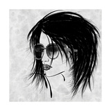 Art Sketched Beautiful Girl Face In Profile And Eyeglass In Black Graphic On White Background Premium Giclee Print by Irina QQQ