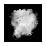 Freeze Motion Of White Dust Explosion Isolated On Black Background Poster by  Jag_cz