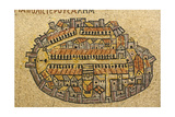 Map Of Jerusalem In Mosaic, Cardo, Jerusalem, Israel Posters by paul prescott