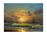 Sailboat Against A Background Of Sea Sunset, Oil Painting Affiche par  Lilun