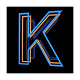 Glowing Letter K Isolated On Black Background Posters by Andriy Zholudyev