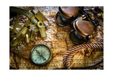 Vintage Still Life With Compass,Sextant And Old Map Kunst van  scorpp