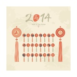 Tassels Set With Chinese Zodiac Signs Posters af Yurumi