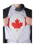 Business Man With Canadian Flag T-Shirt Prints by  IJdema