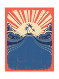 Tropical Background With Palms On Grunge Poster Posters by  GeraKTV