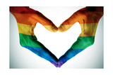 Man Hands Painted As The Rainbow Flag Forming A Heart, Symbolizing Gay Love Poster von  nito