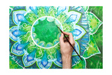 Man Painting Bright Green Picture With Circle Pattern, Mandala Of Anahata Chakra Plakater af shooarts