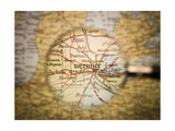 Magnifying Glass In Front Of A Detroit Map Prints by  gemenacom