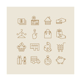 Shopping And Electronic Commerce Icons Print by  yemelianova