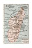 Madagascar Old Map Giclee-tryk i høj kvalitet af  marzolino