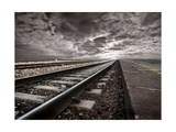 Empty Railway Tracks In A Stormy Landscape Posters by  olly2