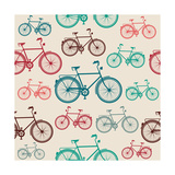 Vintage Bike Elements Seamless Pattern Prints by  cienpies