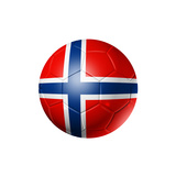 Soccer Football Ball With Norway Flag Premium Giclee Print by  daboost