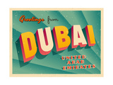 Vintage Touristic Greeting Card - Dubai, United Arab Emirates Poster by Real Callahan