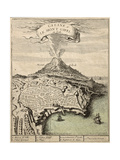 Old French Engraved Illustration Showing The City Of Catania, Sicily, At The Foot Of Mount Etna Prints by  marzolino