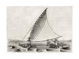 Old Illustration Of A Jangada, Traditional Fishing Boat Used In Northern Region Of Brazil Prints by  marzolino